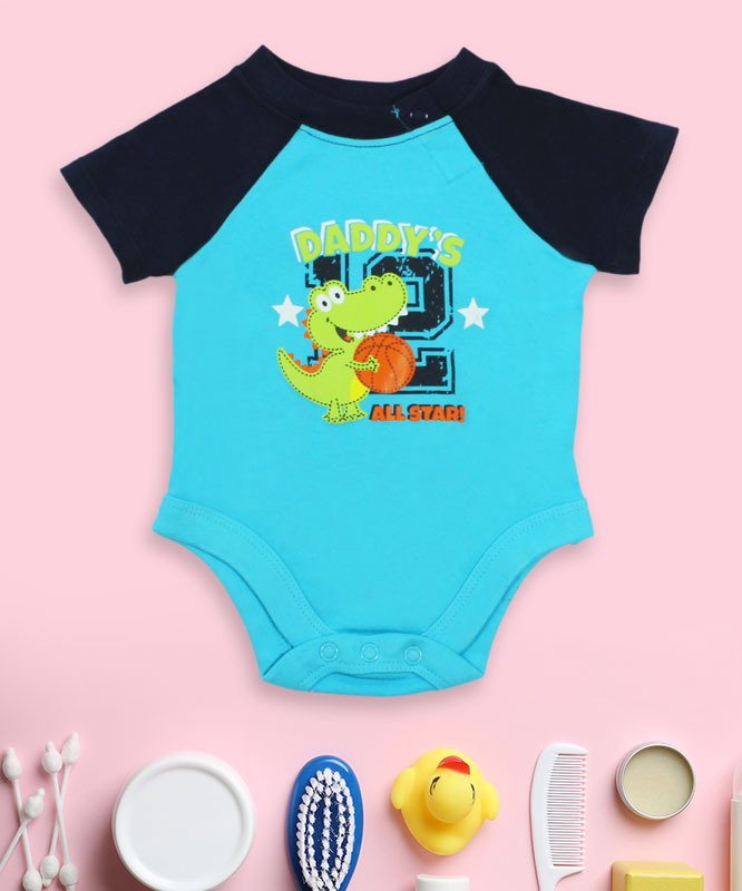 daddy's all star blue and black romper