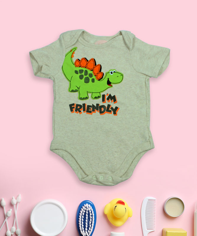 I'm friendly dino on grey rompers