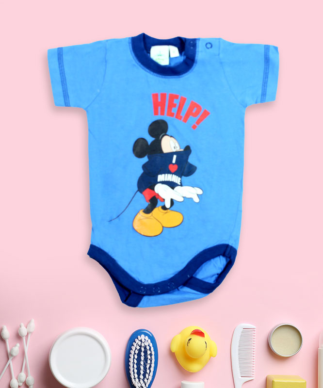 mikey help! on blue romper