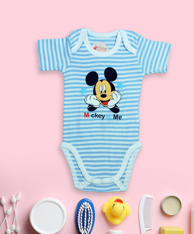 Mickey On Blue And White Strips Rompers