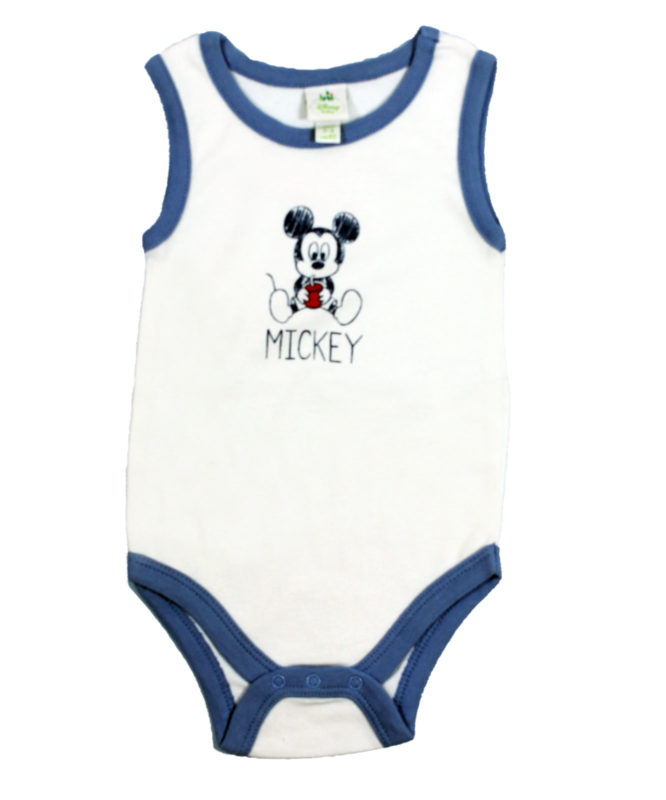 mickey on white and blue romper