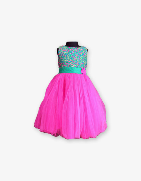 Aqua blue and pink Party wear Gown