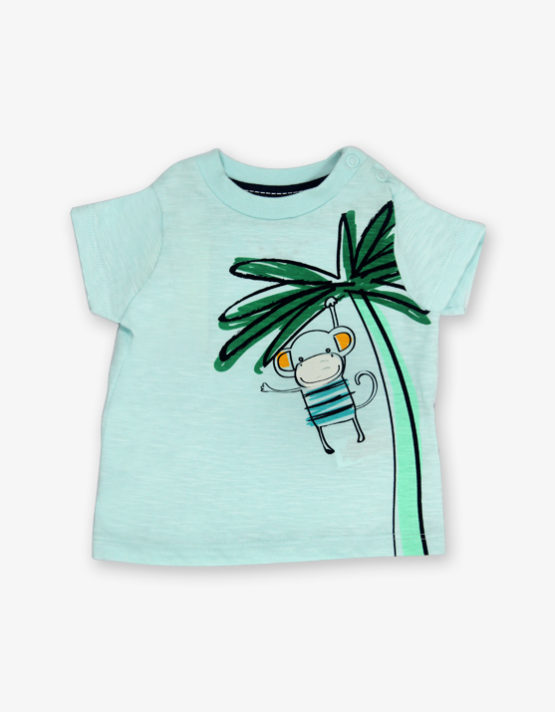 Aqua green monkey printed tshirt_