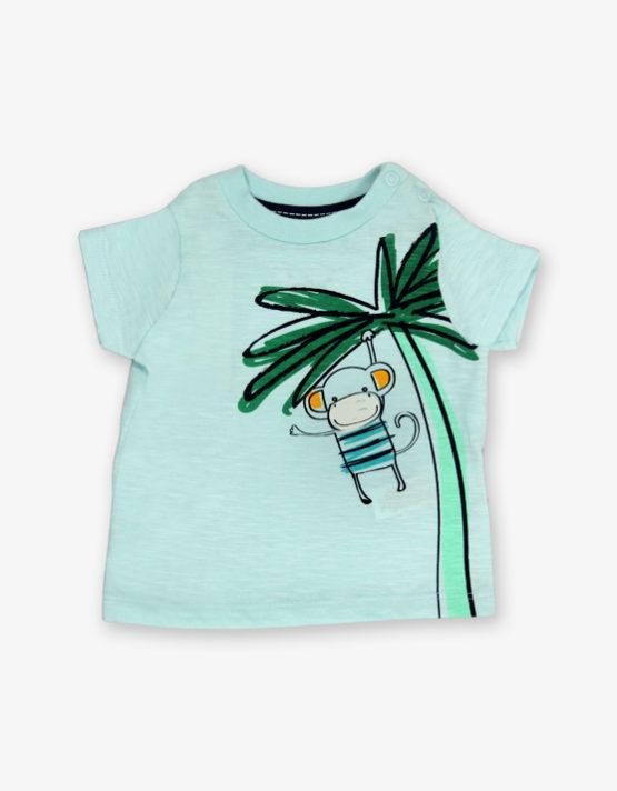 Aqua green monkey printed tshirt_