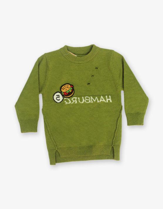 Green Hamburger printed sweater_md_front