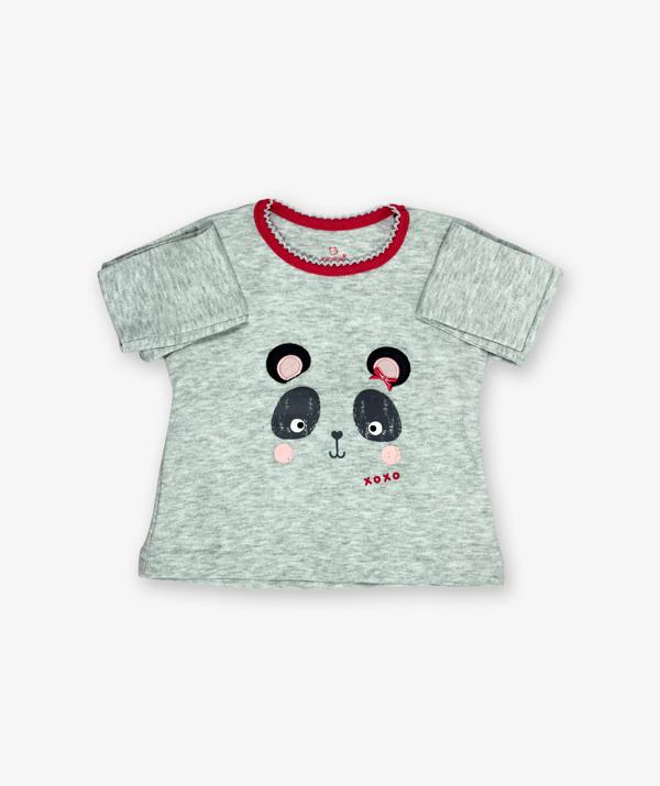Grey panda Printed tshirt_med_front