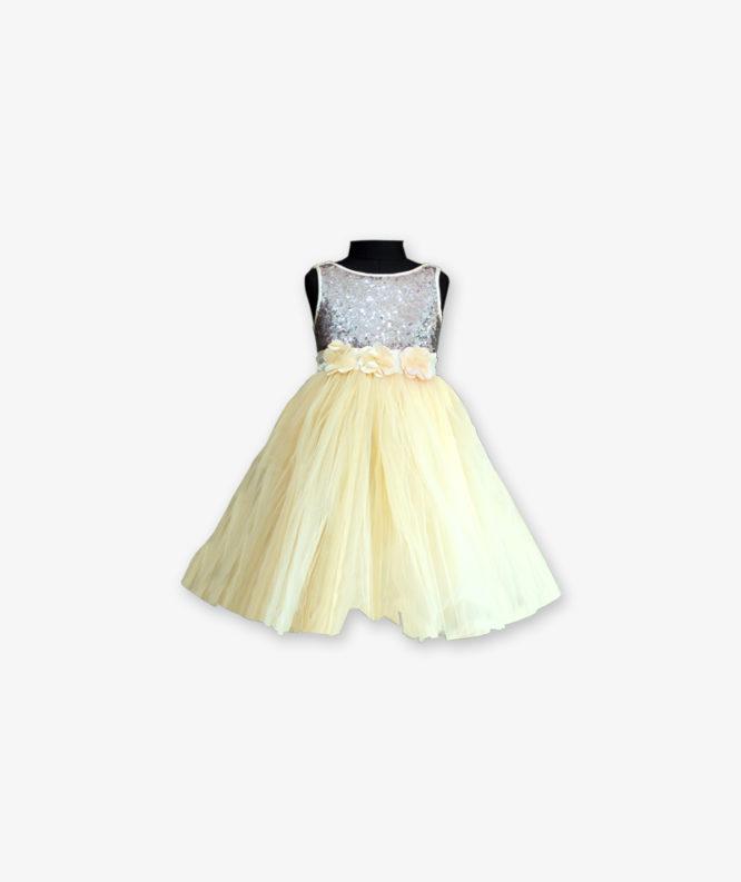 Lemon yellow Party wear Gown