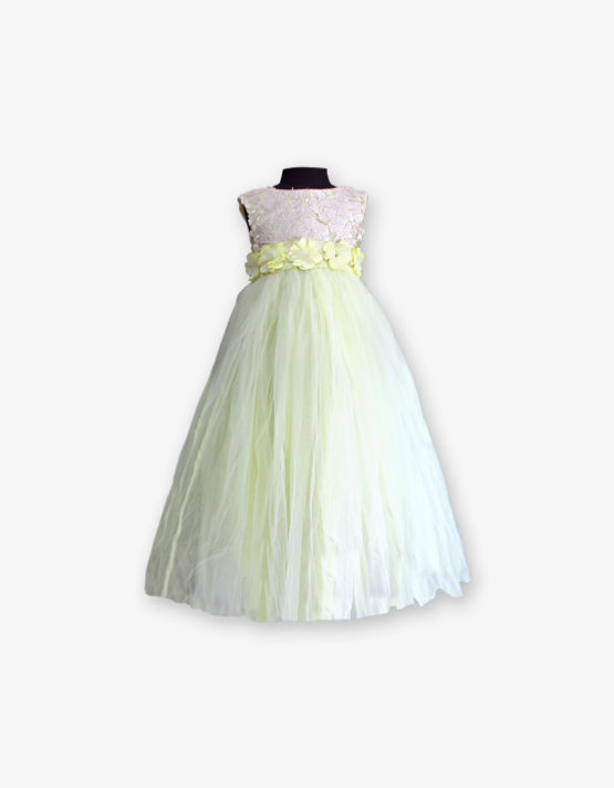 Light yellow party wear Gown_med_front