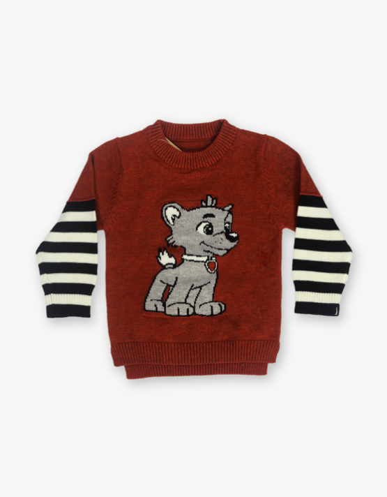 Maroon Tommy printed sweater_md_front