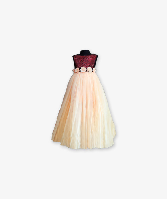 Maroon with peach party wear Gown_lag_front