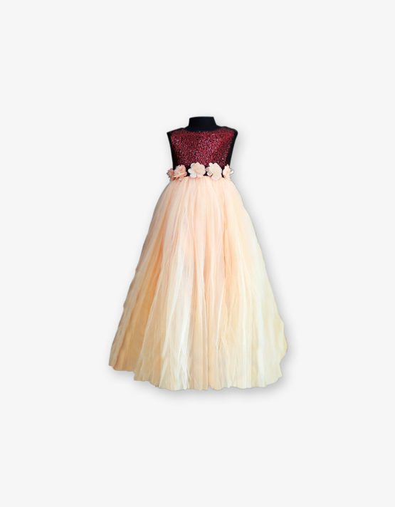 Maroon with peach party wear Gown_med_front