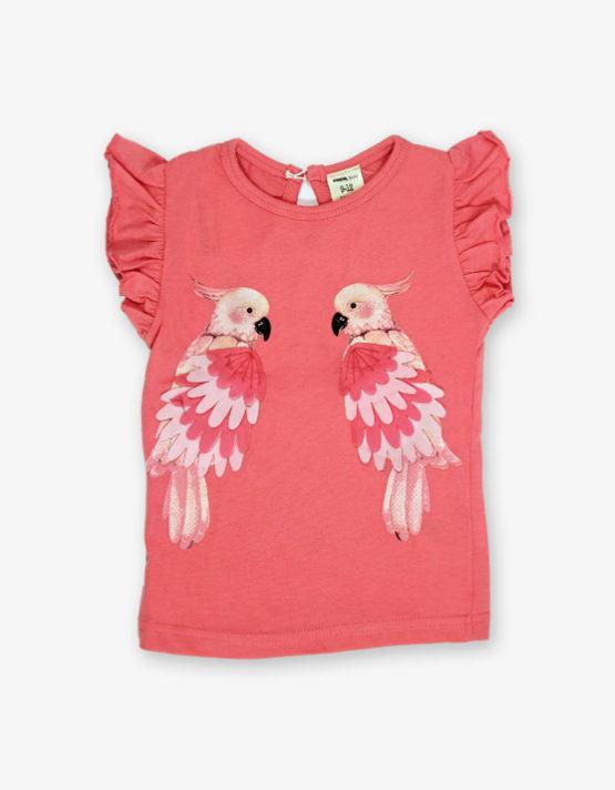 Peach parrot printed tshirt