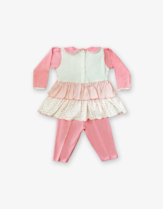 Pink and white Frock with pink pant