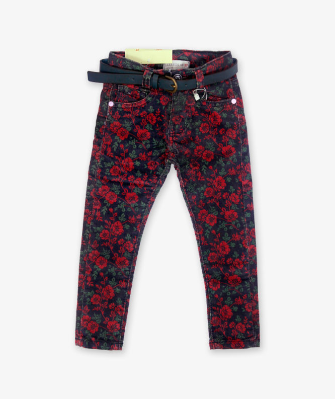 Red Floral Pant for girls