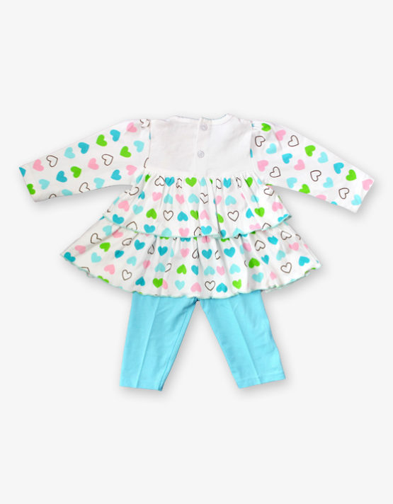White hearted frock with blue pant