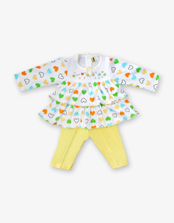 White hearted frock with yellow pant