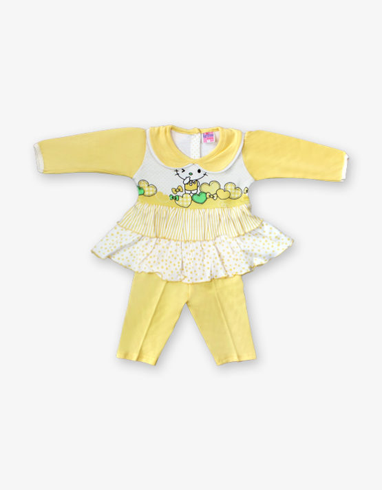 Yellow and white frock with yellow pant