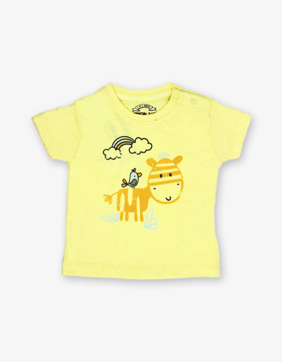 Yellow cartoon printed tshirt_med_front
