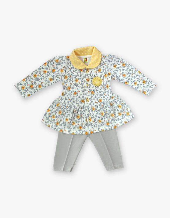 Yellow floral fork with off white pant