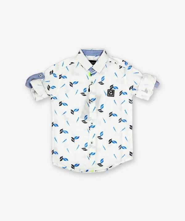 White printed leaves shirt