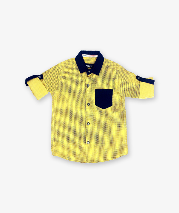 Yellow blue doted shirt