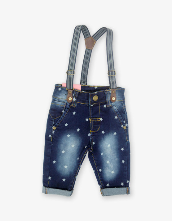 Dark Blue Star printed Dungree