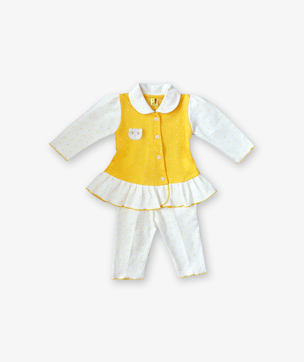 yellow doted frock with white doted pant